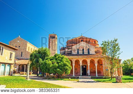 Church Of Santa Fosca Building On Torcello Island, Cathedral Of Santa Maria Assunta With Bell Tower