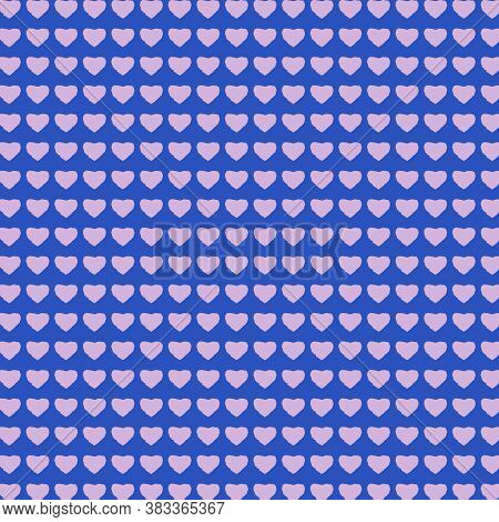 Cerulean Blue And Pink Heart Pattern With Rows Of Small Hearts In This 12x12 Design Element For Back
