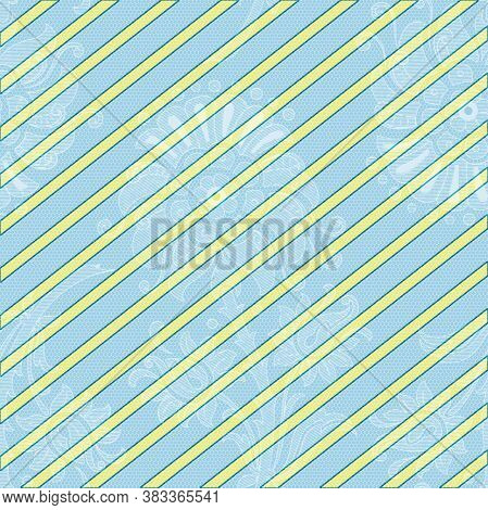 Lacy Blue And Yellow Stripes Pattern In 12x12 Design Element For Backgrounds.