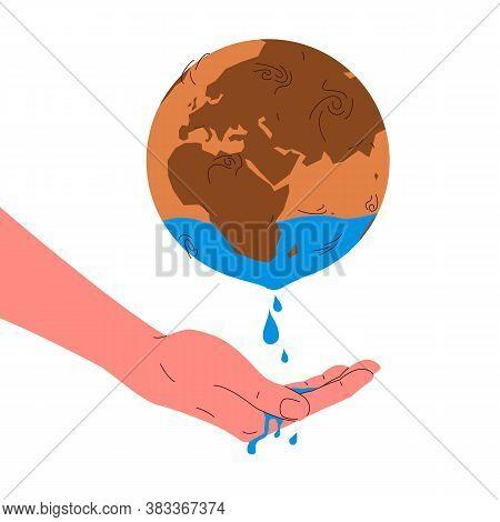 Earth Globe Water Resources. Vector Concept Illustration Of Dry Red Planet Earth Sphere Representing