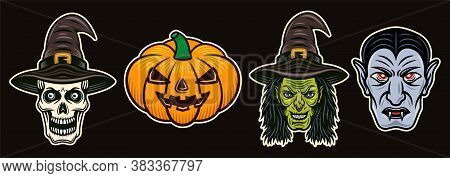 Halloween Characters (witch, Pumpkin, Vampire Dracula, Skull) Set Of Vector Colorful Objects Or Desi
