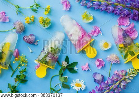 Floral Ice Pops. Frozen Popsicles And Ice Cubes Made Of Colorful Wildflowers On Blue Background Flat