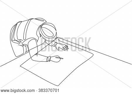 Single Continuous Line Drawing Of Young Architect Draw Sketch Draft Construction Design On Drawing T