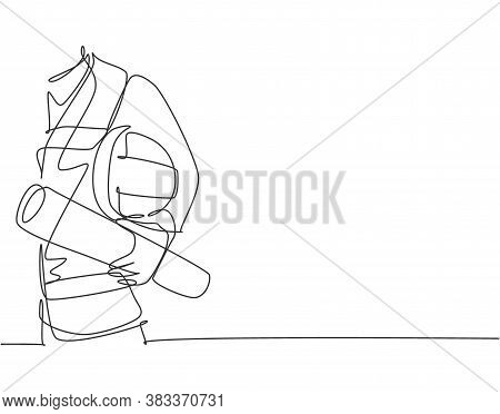 Single Continuous Line Drawing Of Young Architect Holding Helmet And Blueprint Roll Paper. Building