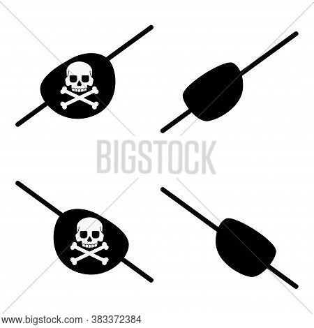 Black Pirate Eye Bandage With A Skull And Crossbones For The Left And Right Eyes. Vector Flat Icons