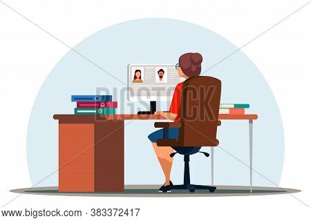 Hr Manager Searching For New Candidate Online In Office. Woman Looking At Computer Screen Studying C