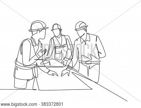 One Continuous Line Drawing Of Young Architects Discussing Construction Design Blueprint At Office M