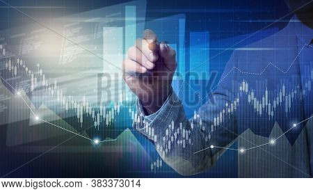 Forex Trading. Man Using Virtual Screen, Double Exposure