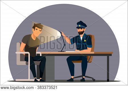 Work Of Police Department. Police Officer Interrogates Man Suspected Of Crime, Glowing Light Of Lamp