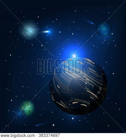 Dark Planet And Colored Vector Illustration Abstract Cosmos