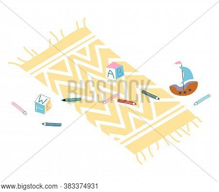 Scattered Toy Educational Cube, Sail-boat, Pencil Lying On Carpet Vector. Messy Playroom With Rug On