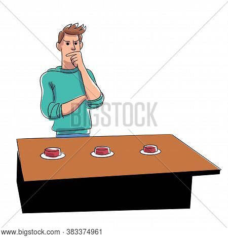 Thoughtful Man Character Standing Front Of Table Playing Game With Thimble Vector. Deception Or Luck