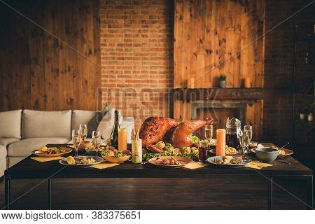 Photo Of Big Baked Roast Stuffed Turkey Salad Fruit Decor Canadian Family Left Dinner Plates Garnish
