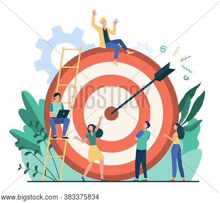 Positive Tiny People Sitting And Walking Near Huge Target With Arrow Isolated Flat Vector Illustrati