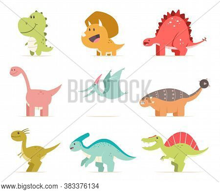 Cute Cartoon Baby Dinosaur Set. Vector Flat Prehistoric Animals Isolated On White Background.