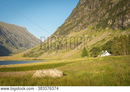 Scenic View Of Loch Achtriochtan In Glen Coe, Scottish Highlands, Uk. Tranquil Scene Of Beautiful Na