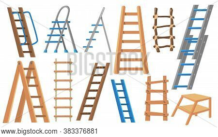 Metal And Wooden Ladders Flat Illustration Set. Cartoon Stepladders For Builders And Painters On Whi