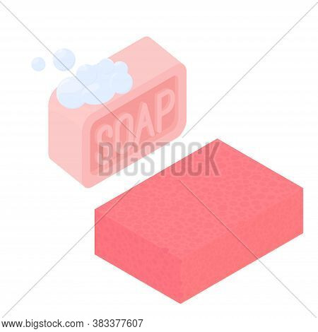 Ismetric Pink Soap And Sponge Isolated On White Background. Vector Illustration Of Soap With Soap Fo
