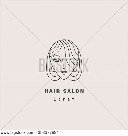 Vector Minimal Face, Linear Artistic Logo. Social Net, Emblem For Beauty Studio And Cosmetics - Fema