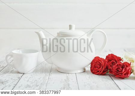 Valentine Day Romantic Breakfast With Red Roses And Teapot. Happy Valentine's Day Greeting Card. Mot
