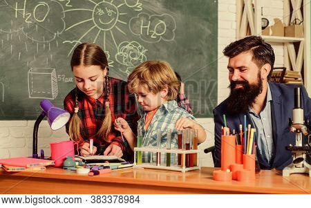 Science And Education. Chemistry Lab. Back To School. Happy Children Teacher. Laboratory Research -