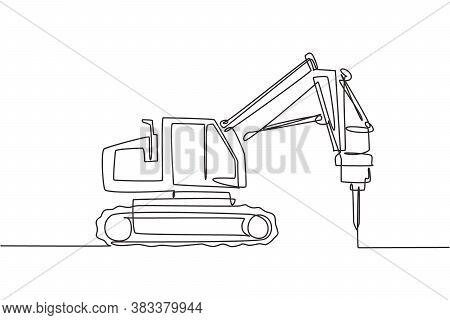 One Single Line Drawing Of Truck Driller For Soil Earth Drilling Vector Illustration, Commercial Veh