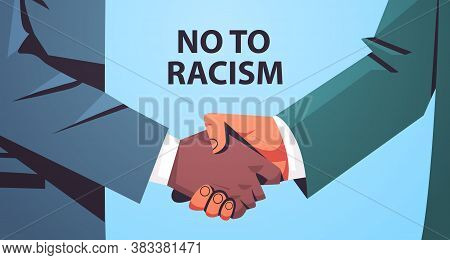 Different Color Handshake Black And Yellow Handshaking Poster Against Racism And Discrimination Raci