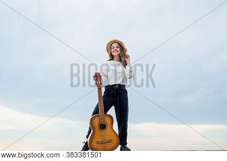My Guitar. Child With Acoustic String Instrument. Have Fun On Party. Guitar Player Or Guitarist. Hap