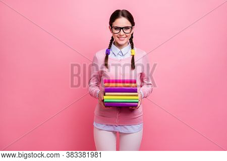 Photo Of Pretty Attractive Student Lady Two Braids Hold Many Books Diligent Pupil Visit Attend Libra