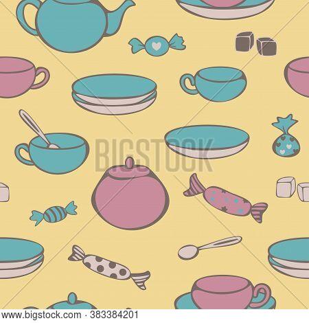 Vector Seemless Pattern Of Crockery For Tea-drinking - Cups, Mugs, Teapot, Sugar Bowl, Lump Sugar An