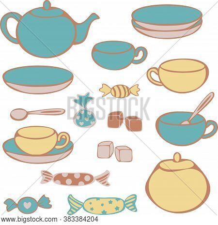 Vector Set Of Crockery For Tea-drinking - Cups, Mugs, Teapot, Sugar Bowl, Lump Sugar And Candies. Co