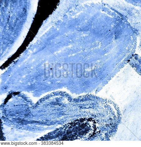 Indigo Fabric. Cyan Fabric. Cool Crumpled Banner. Abstract Dirty Art Template.  Trandy  Aquarelle Or