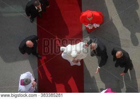ZAGREB, CROATIA - JULY 13, 2011: Pope Benedict enters the Zagreb Cathedral