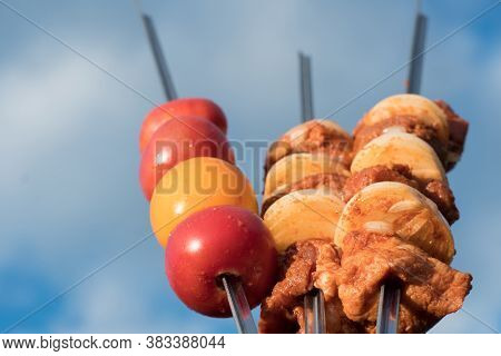 Marinated Raw Meat For Barbecue, Barbecue Or Grill With Onions And Dressed Vegetables On Skewers, Th