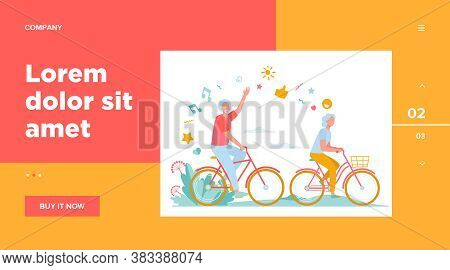 Senior Man And Woman Riding Bikes In City Park. Happy Cartoon Old Family Couple Enjoying Outdoor Act