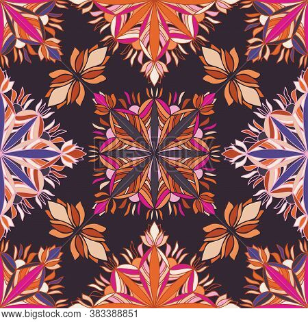 Vector Ornamental Pattern Design Of Lined Abstract Flowers In Psychedelic Colors