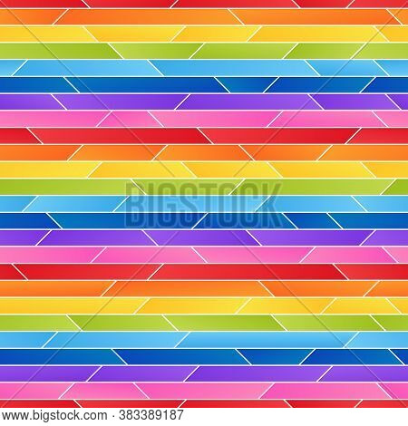 Striped Rainbow Seamless Pattern Of Simple Asymmetric Geometric Shapes.  Universal Abstract Continuo