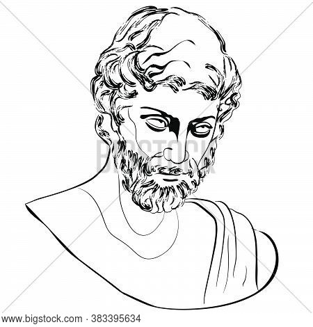 Vectoral Linear Illustration Of An Antique God. Isolated Image Of Hephaestus Volcano God. Character