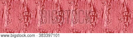 Wood Old. Weathered Wall. Paint Pattern. Red Shabby Structure. Drought Tree Stencil. Ancient Wood Ol