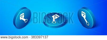 Isometric Engine Piston Icon Isolated On Blue Background. Car Engine Piston Sign. Blue Circle Button