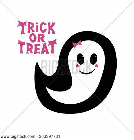 Cute Girl Ghost With Pink Blush, Bow And Trick Or Treat Lettering. Halloween Greeting Card. Isolated