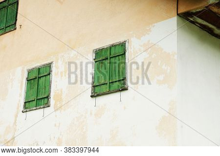 Wooden Windows On An Old House In Tyrol Austria