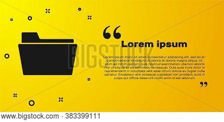 Black Document Folder Icon Isolated On Yellow Background. Accounting Binder Symbol. Bookkeeping Mana