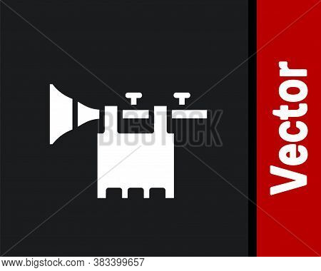 White Trumpet With Flag Icon Isolated On Black Background. Musical Instrument Trumpet. Vector