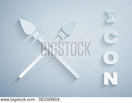 Paper Cut Crossed Medieval Spears Icon Isolated On Grey Background. Medieval Weapon. Paper Art Style