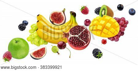 Falling Fruits And Berries Isolated On White Background