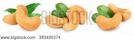 Roasted Cashew Nuts With Leaf Isolated On White Background With Clipping Path And Full Depth Of Fiel
