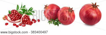 Pomegranate With Leaf Isolated On White Background With Clipping Path And Full Depth Of Field. Set O