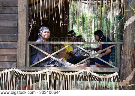 Carey Island, Selangor/malaysia - Mar 17 2018: Mah Meri People At Wooden House.