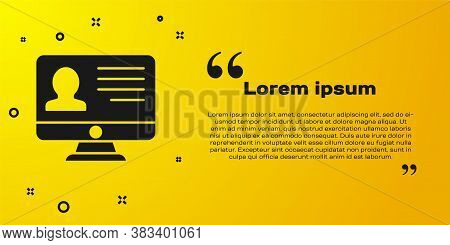 Black Computer Monitor With Resume Icon Isolated On Yellow Background. Cv Application. Searching Pro